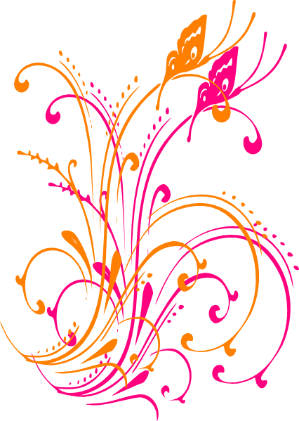 Butterfly Scroll Purple Blue Pink Tei SVG Clip arts