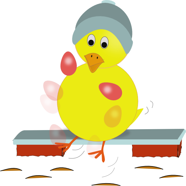 Easter Chick Kicking Eggs SVG Clip arts