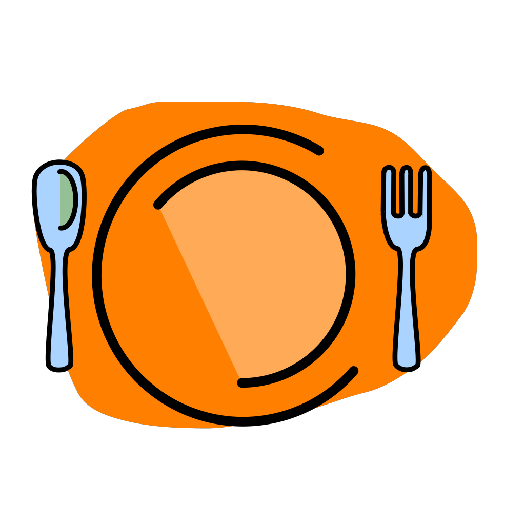 Plate, Fork, Spoon-no Text SVG Clip arts