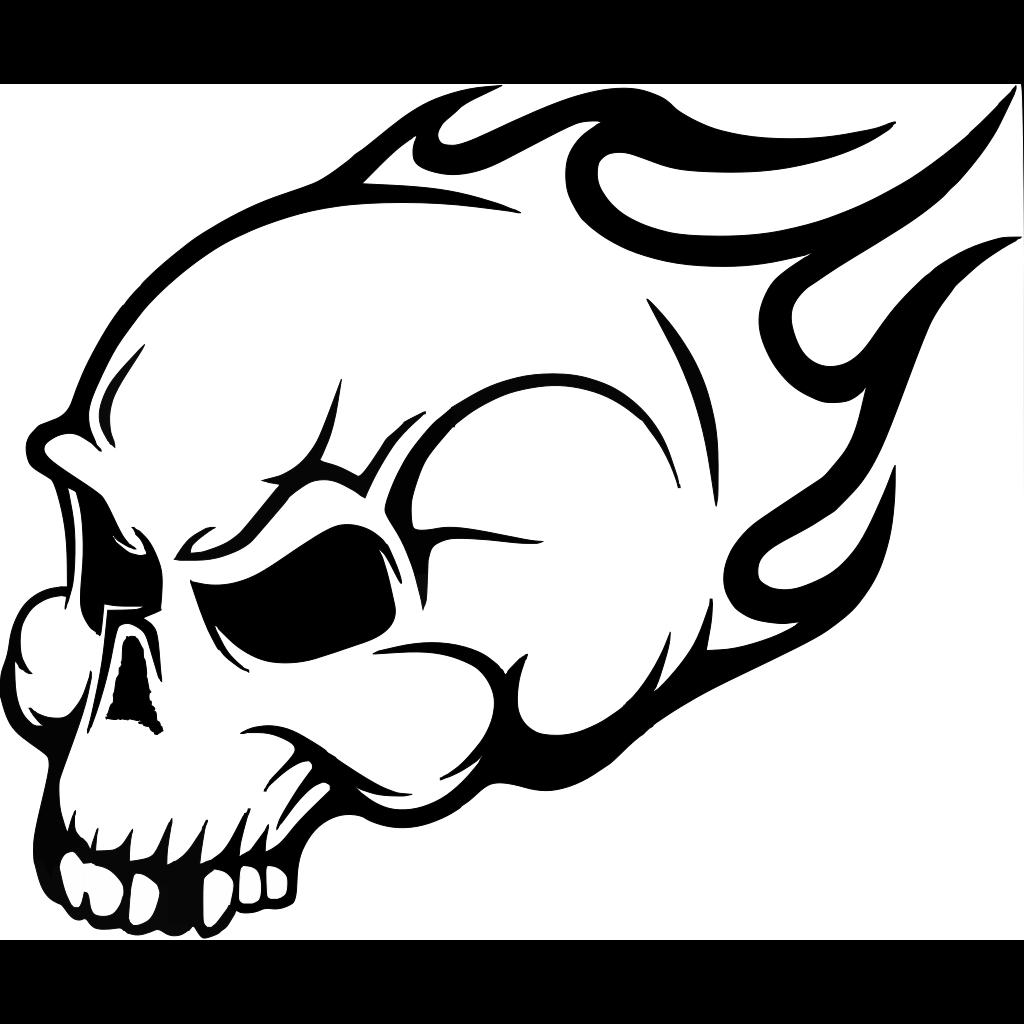 Flaming Skull Wall Art Sticker SVG Clip arts