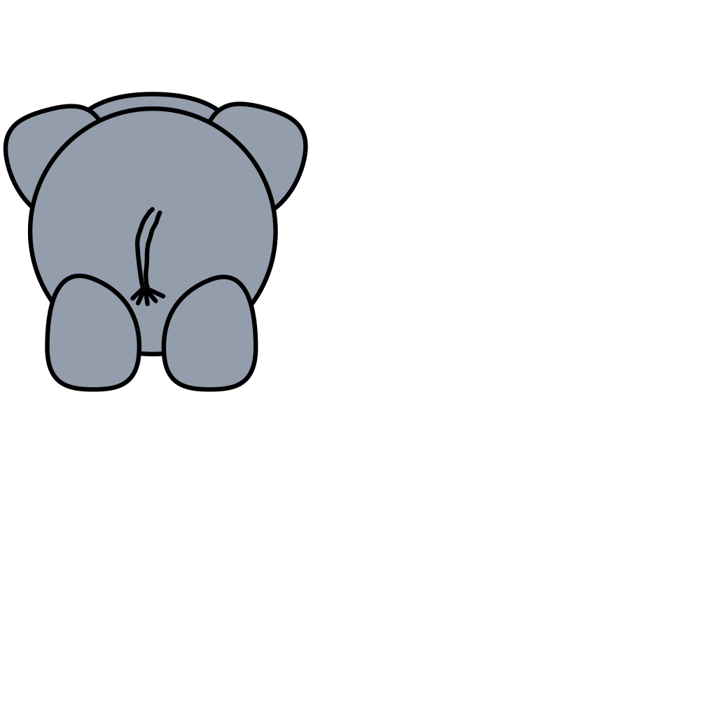 Elephant Rear SVG Clip arts
