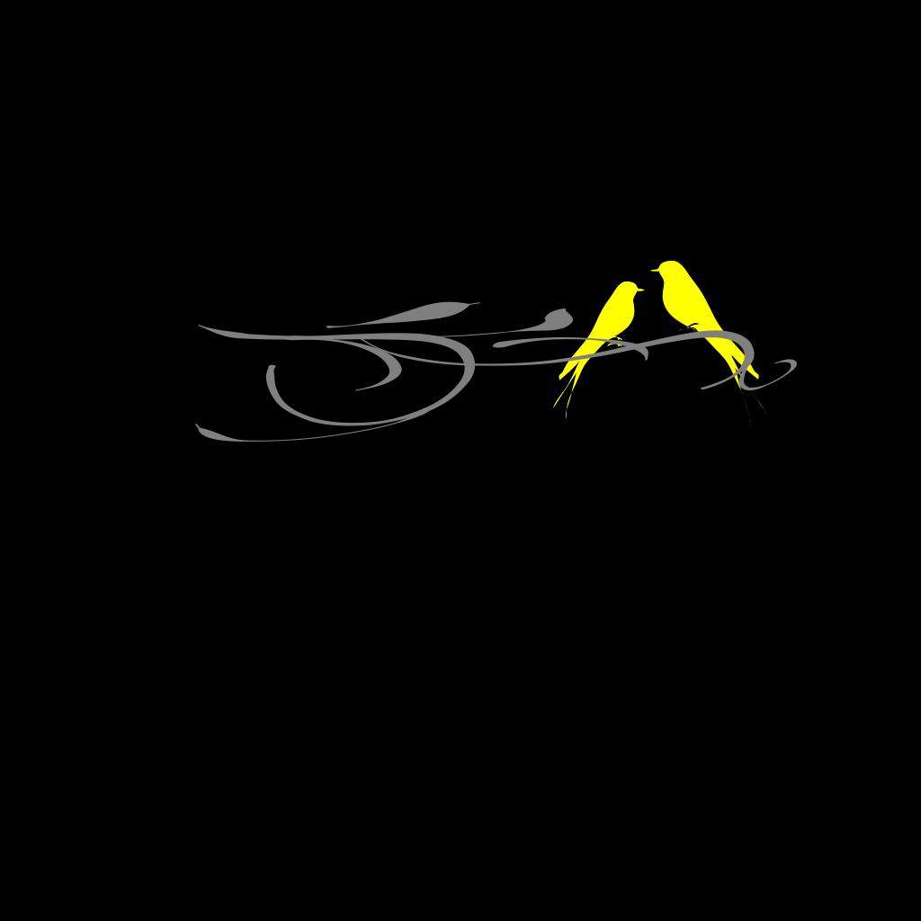 Yellow Love Birds On Branch SVG Clip arts
