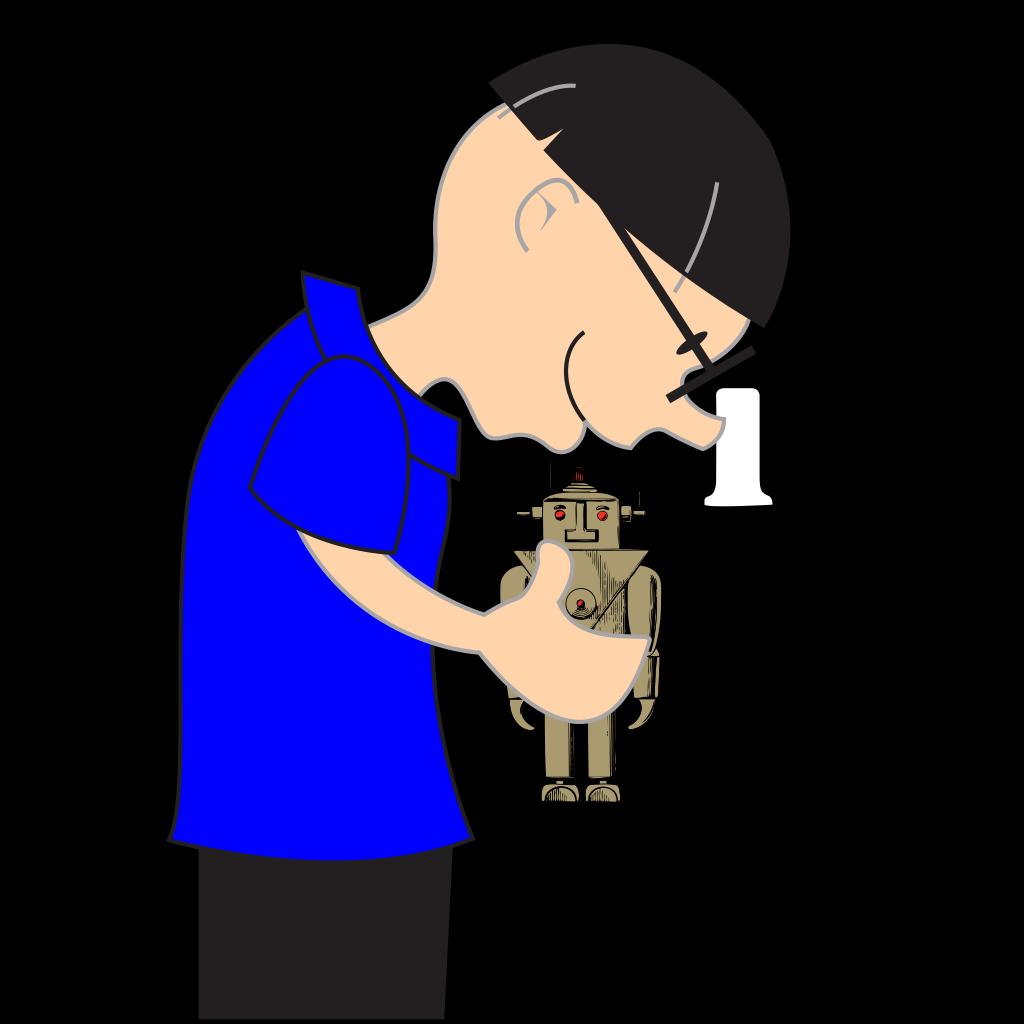 Scientist Holding Small Robot SVG Clip arts