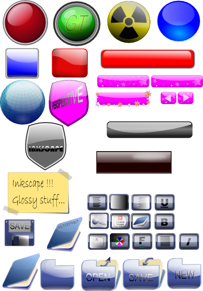 Mixed Gloss Icons And Buttons SVG Clip arts