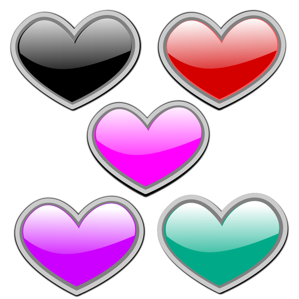 Glossy Hearts 1 SVG Clip arts