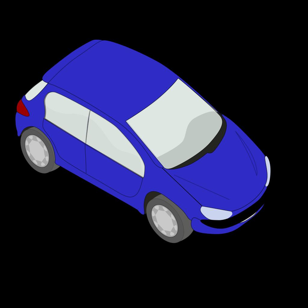 Blue Peugeot 206 SVG Clip arts