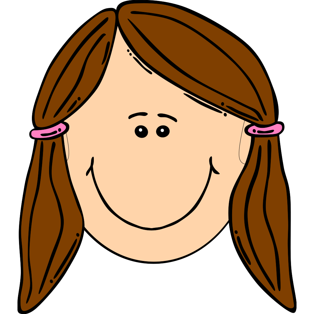 Smiling Girl With Brown Ponytails SVG Clip arts