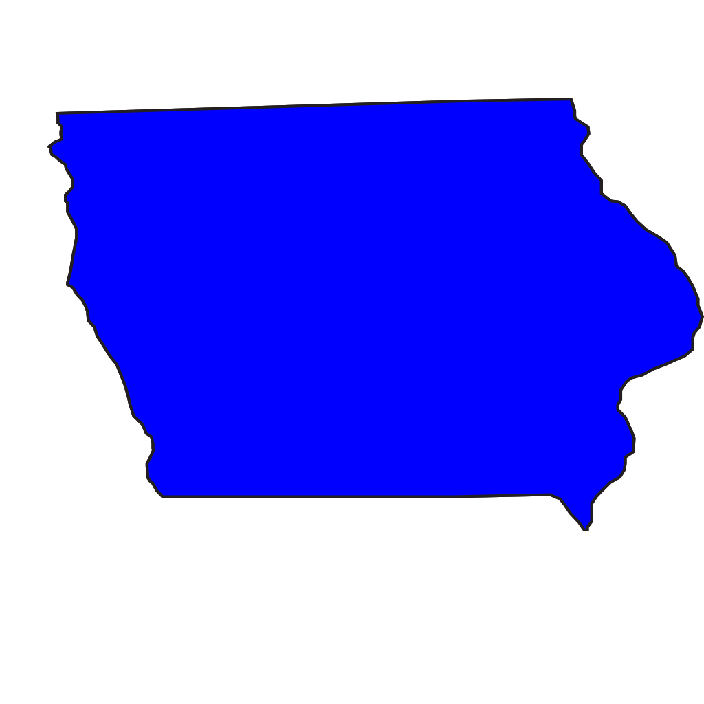 Blue Iowa SVG Clip arts
