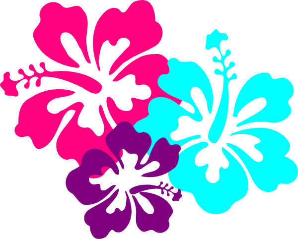 Hibiscus Teal & Green SVG Clip arts