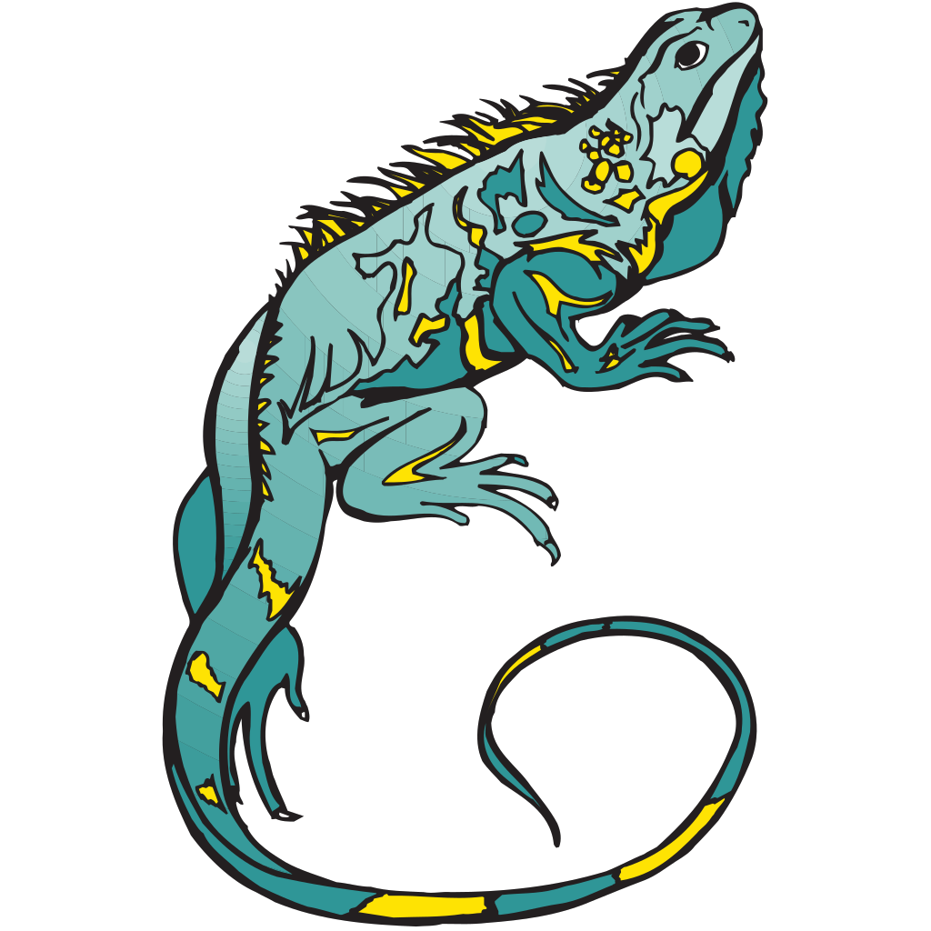 Blue And Yellow Chameleon SVG Clip arts