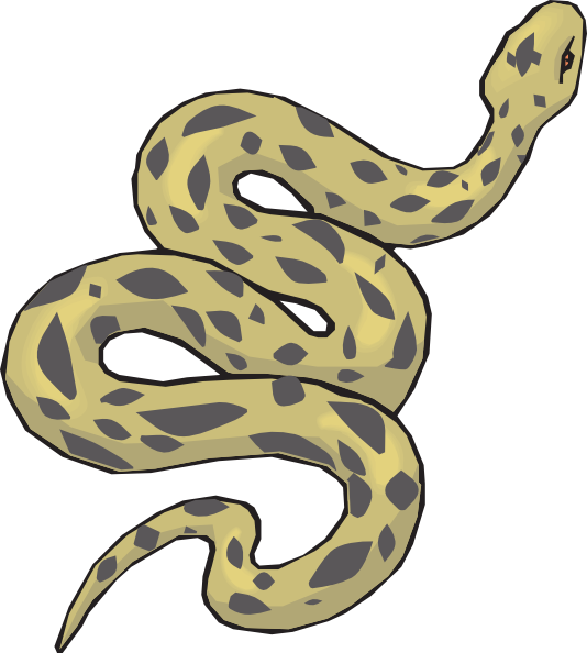 Slithering Yellow Snake SVG Clip arts