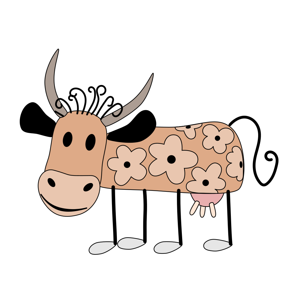 Cow With Flowers SVG Clip arts