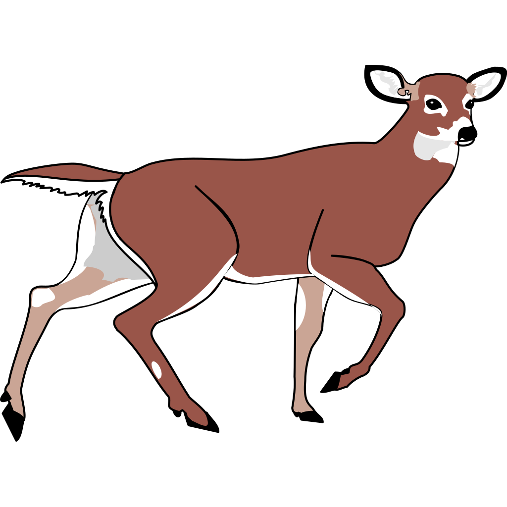 Brown Walking Deer SVG Clip arts