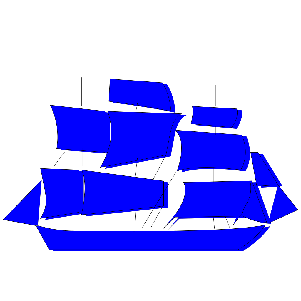 Blue Boat SVG Clip arts