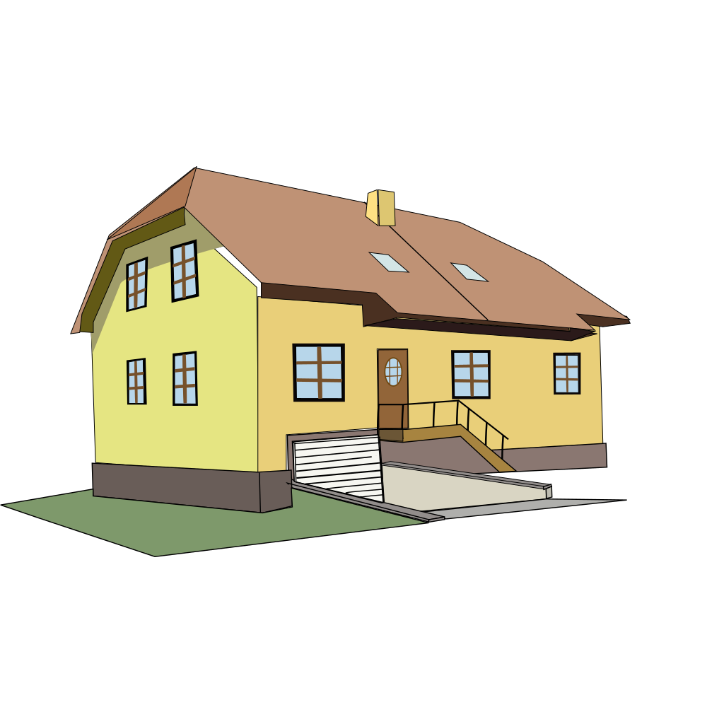 Yellow And Brown House SVG Clip arts