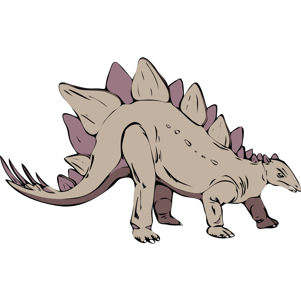 Gray Stegosaurus SVG Clip arts