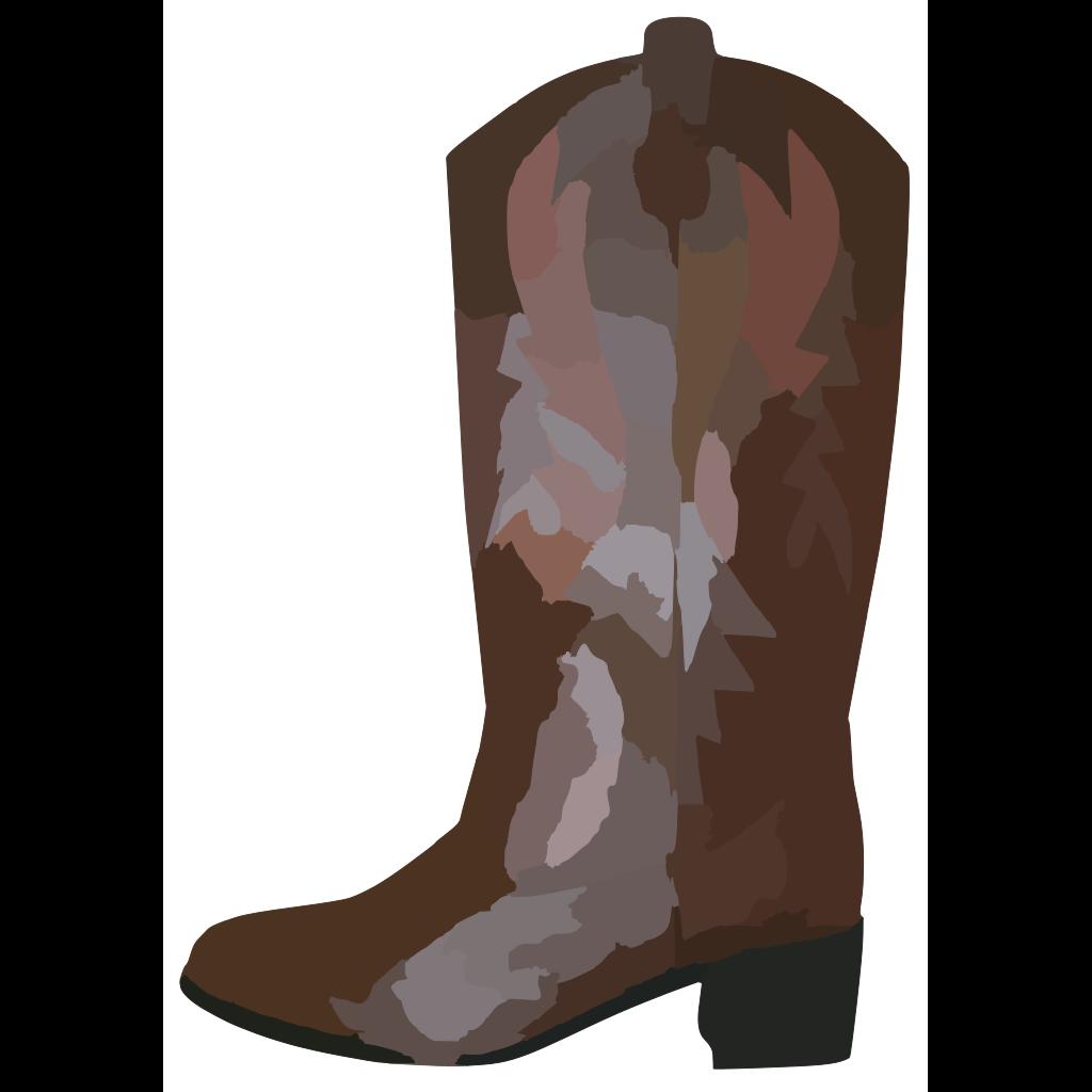 Adult Brown Cowboy Boots Reverse SVG Clip arts