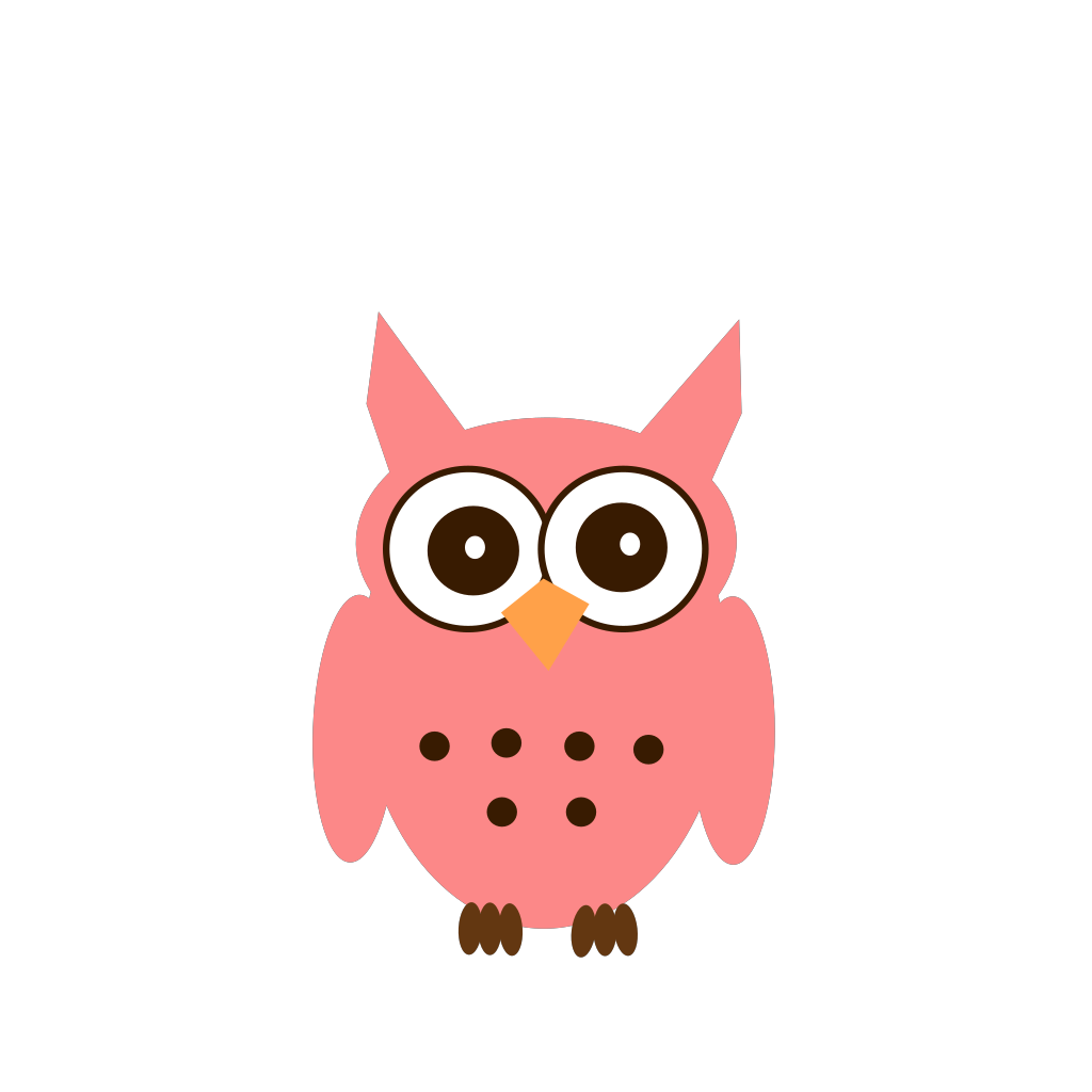 Pink And Brown Owl SVG Clip arts