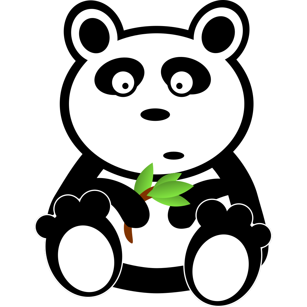 Cartoon Panda With Bamboo Leaves SVG Clip arts