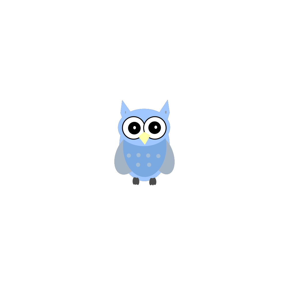 Blue Gray Owl SVG Clip arts