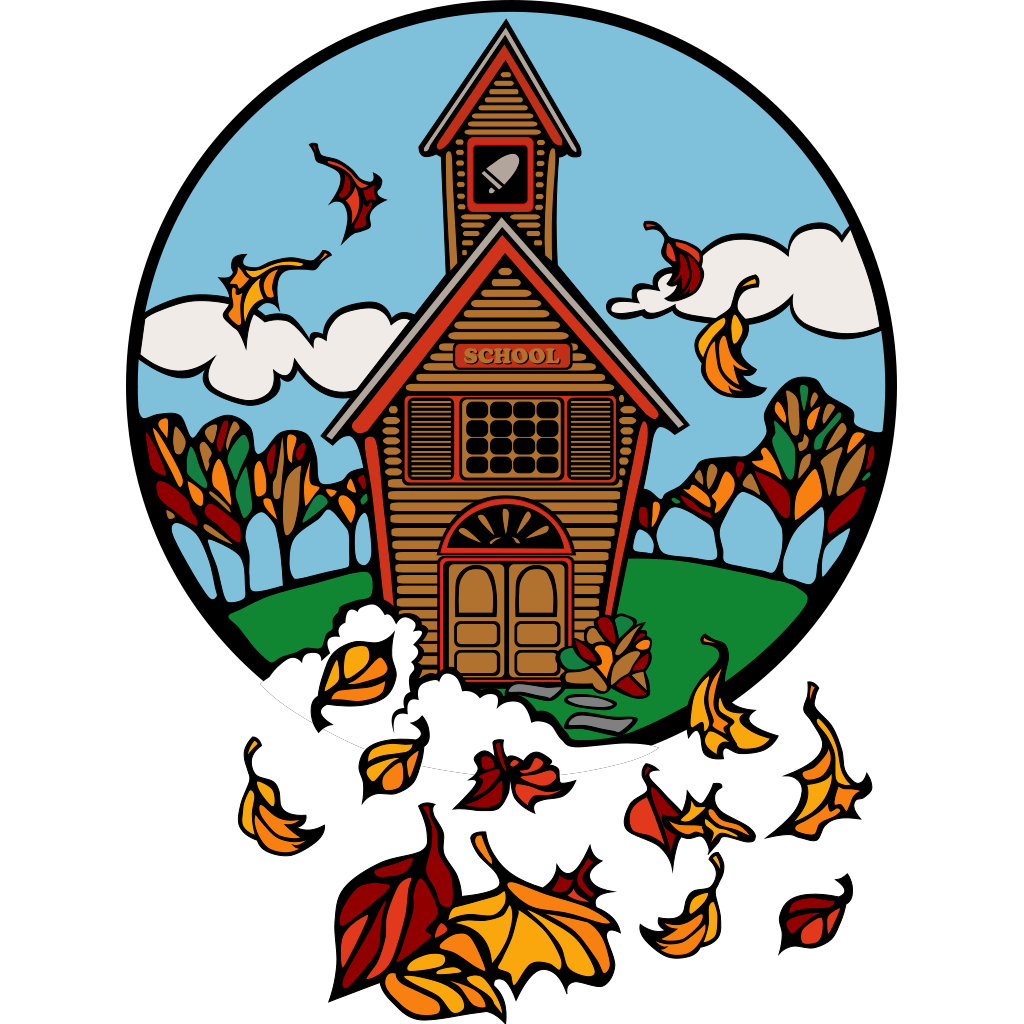 School In Fall SVG Clip arts