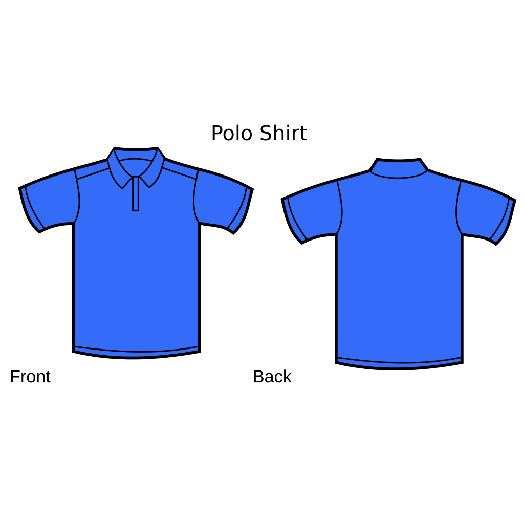 Blue Polo Shirt Front And Back SVG Clip arts