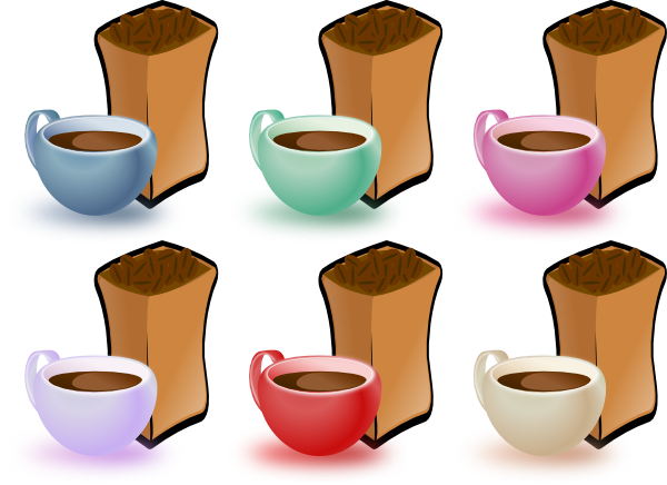 Coffee Cups And Bean SVG Clip arts