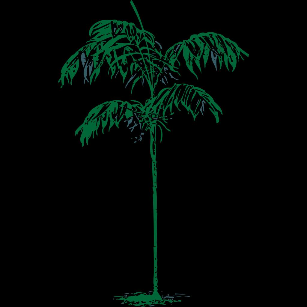 Blue Palm Tree Beach W/sun SVG Clip arts