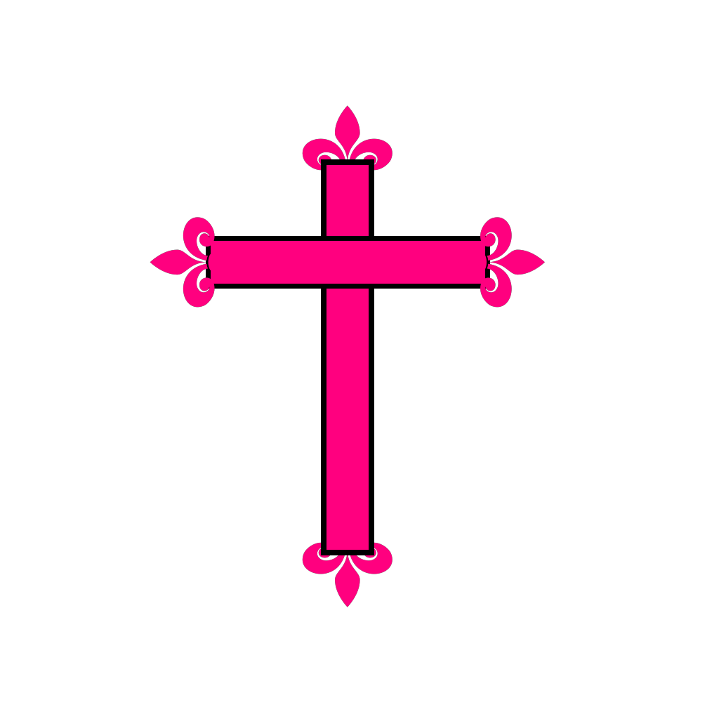 Fleur De Lis Cross SVG Clip arts