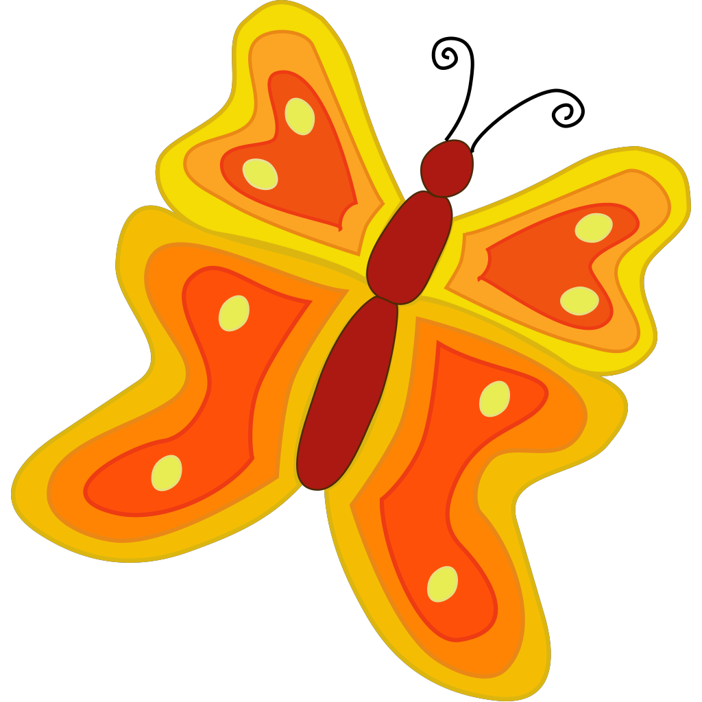 Simple Cartoon Butterfly SVG Clip arts