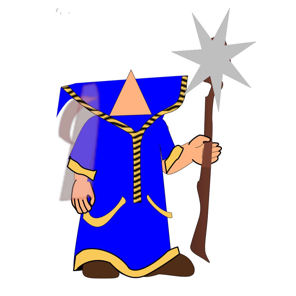 Headless Blue Wizard SVG Clip arts