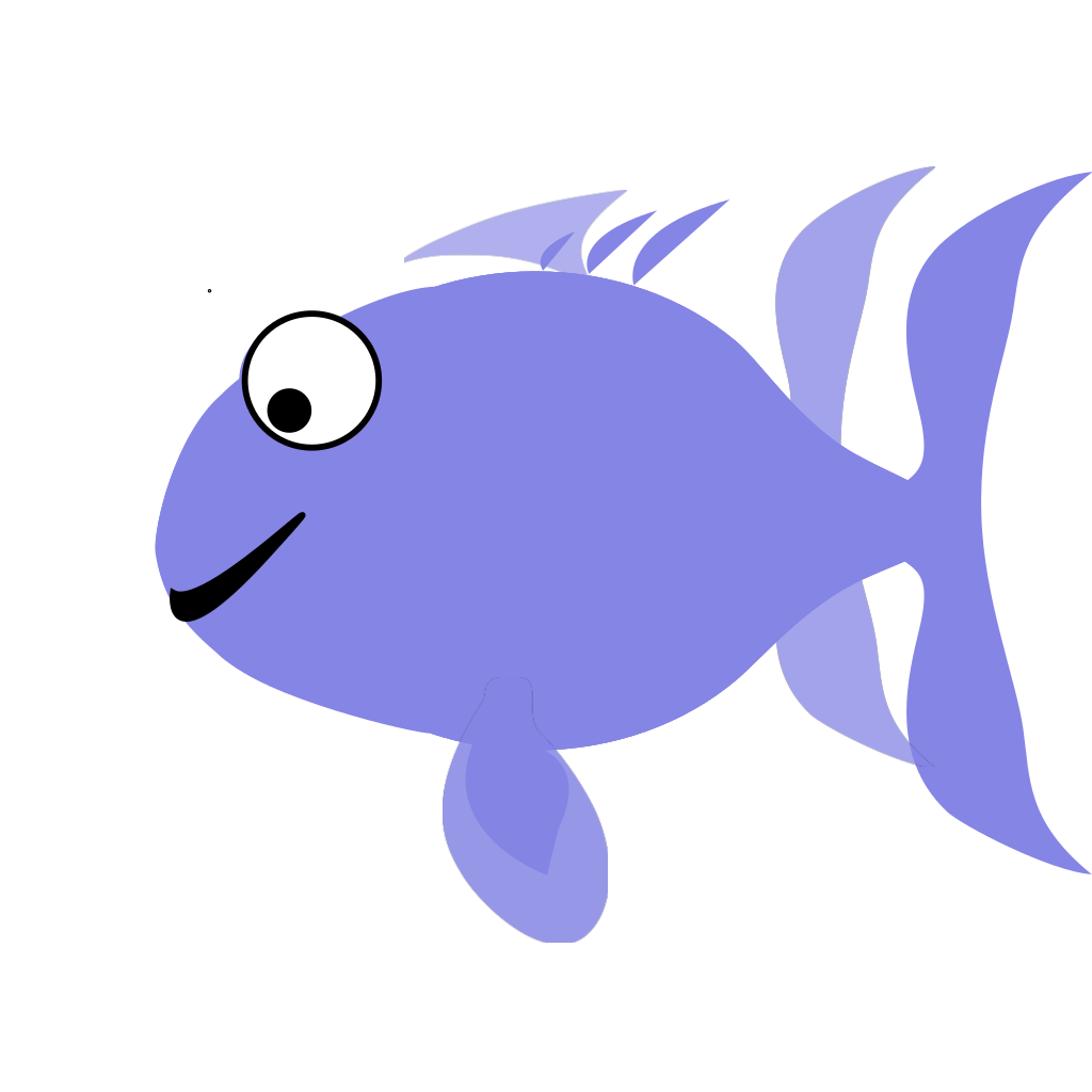 Blue Happy Fish SVG Clip arts