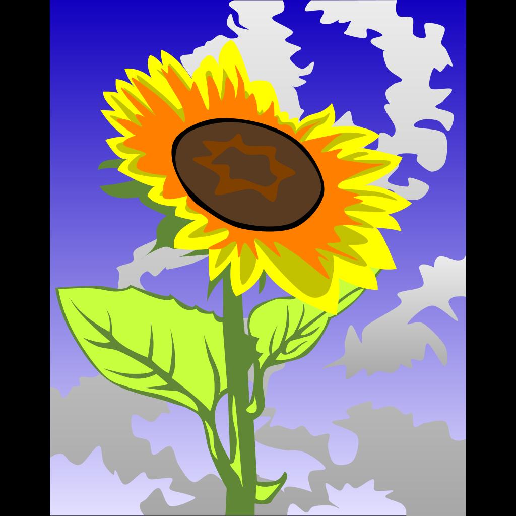 Sunflower Against Blue Sky SVG Clip arts