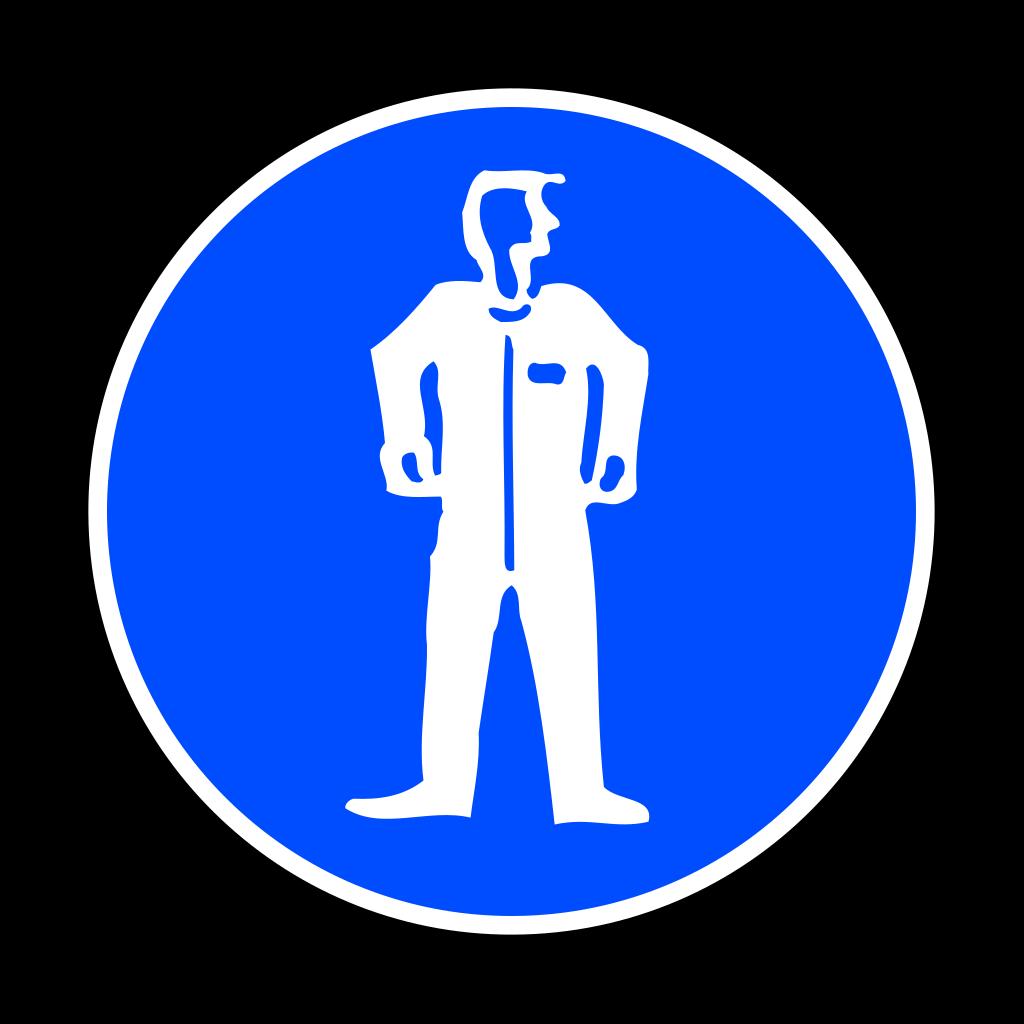 Mandatory Bodily Protection Blue Sign Sticker SVG Clip arts