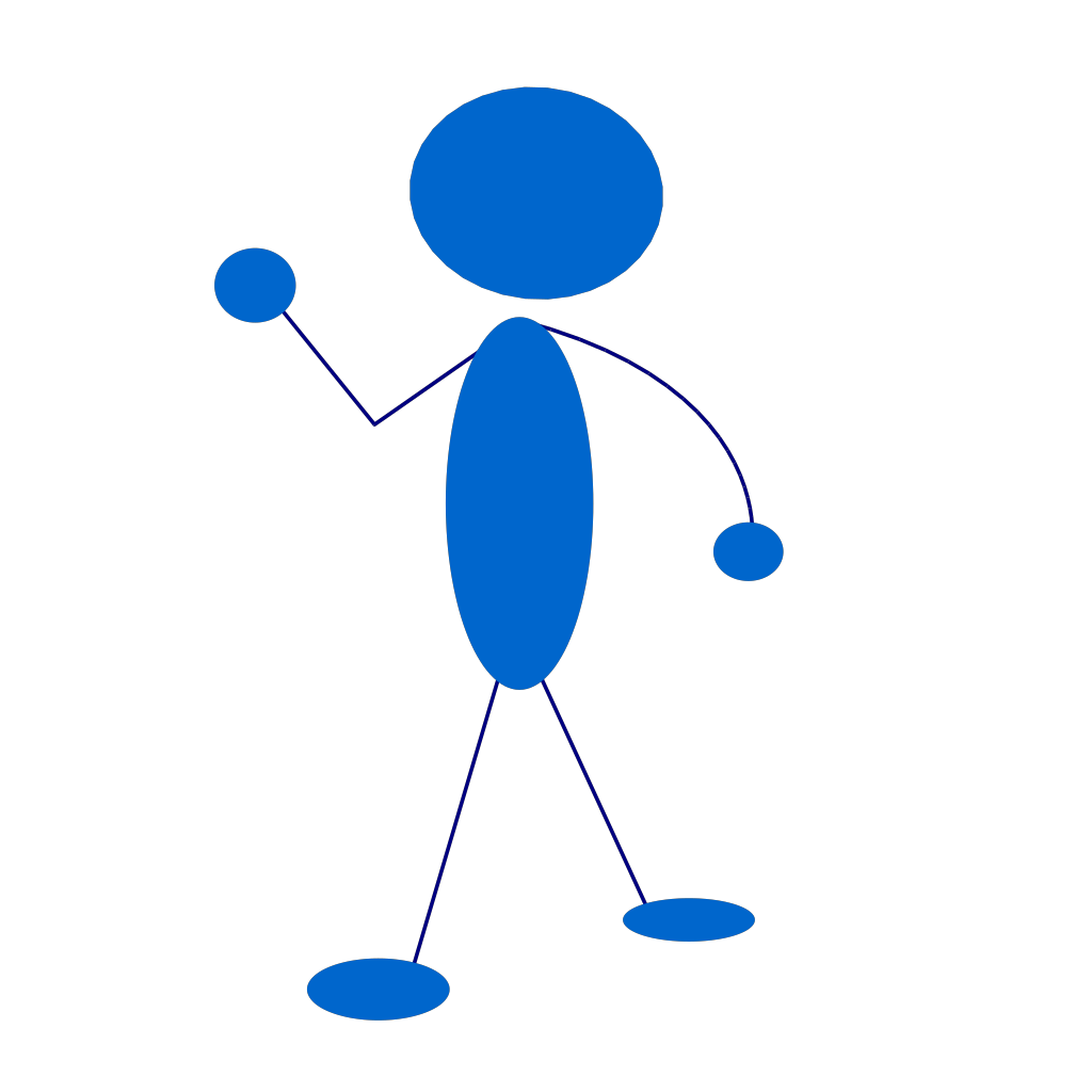 Waving Blue Stick Man SVG Clip arts