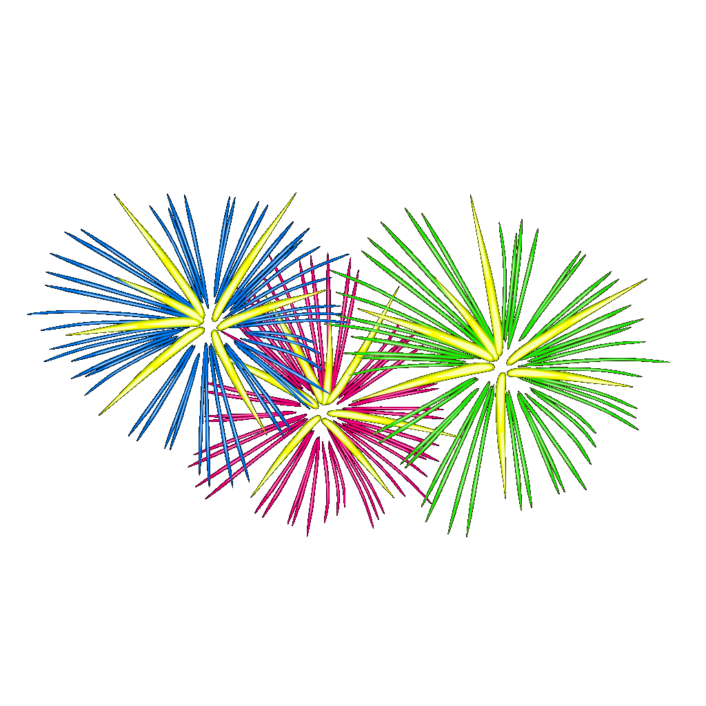 Three Colour Fireworks SVG Clip arts