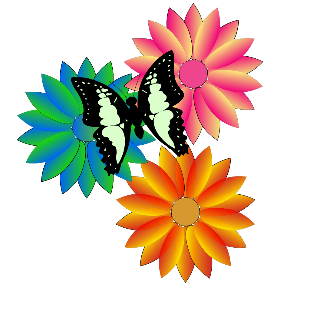Butterfly And Flowers SVG Clip arts