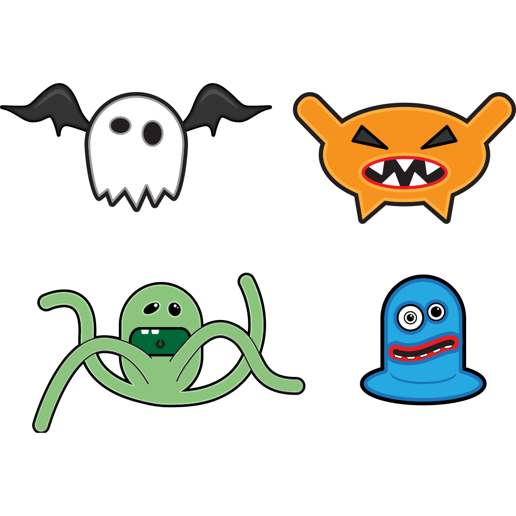 Cartoon Monsters 1 SVG Clip arts