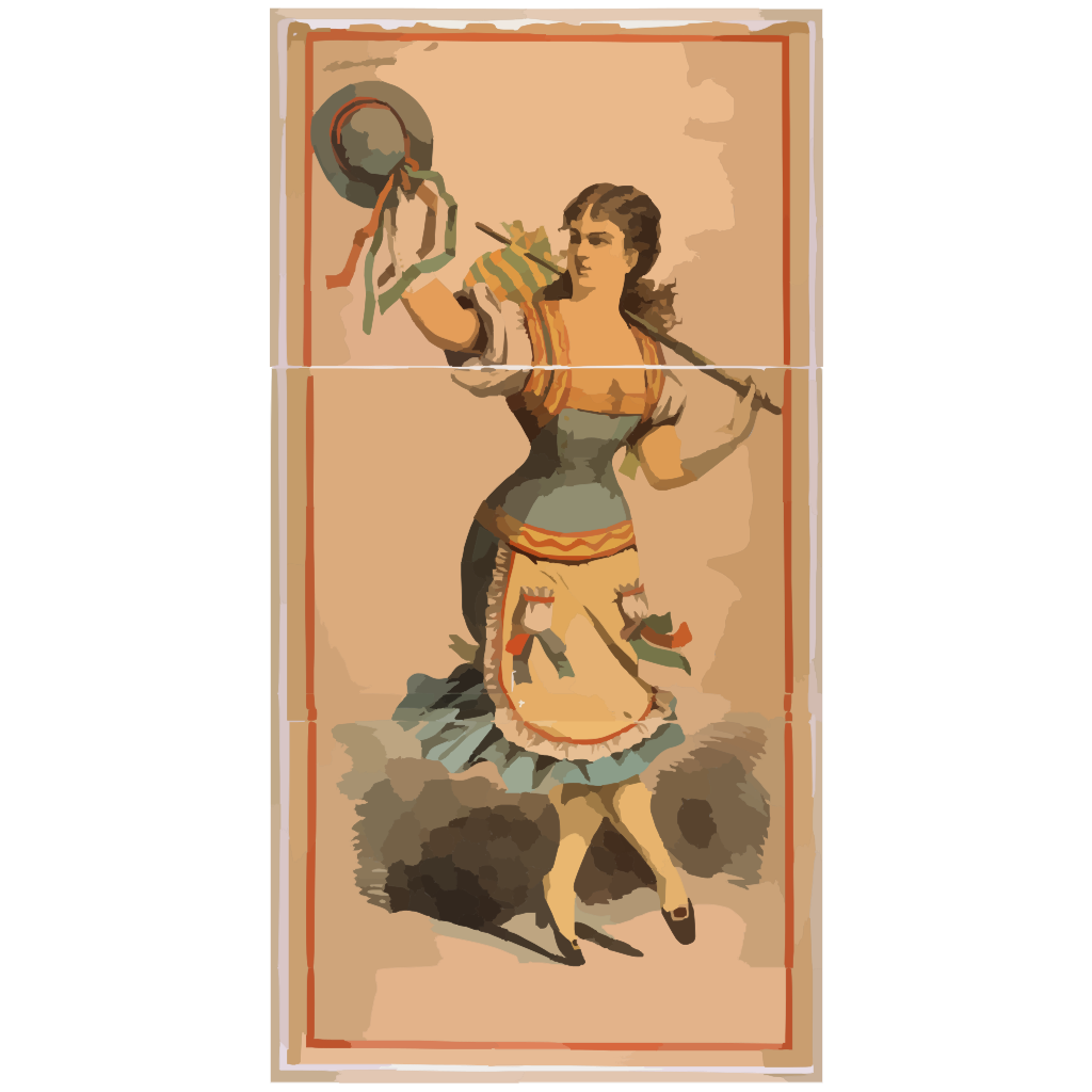 [dancing Chorus Girl With Cane And Blue Hat] SVG Clip arts