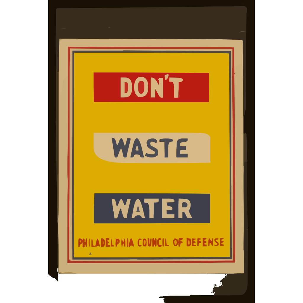 Don T Waste Water  / Penna Art Wpa. SVG Clip arts