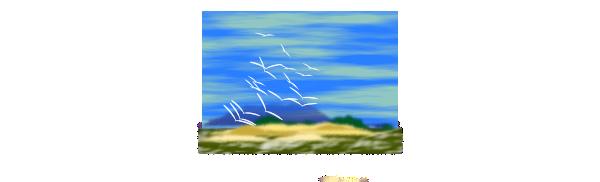 Landscape With Birds SVG Clip arts
