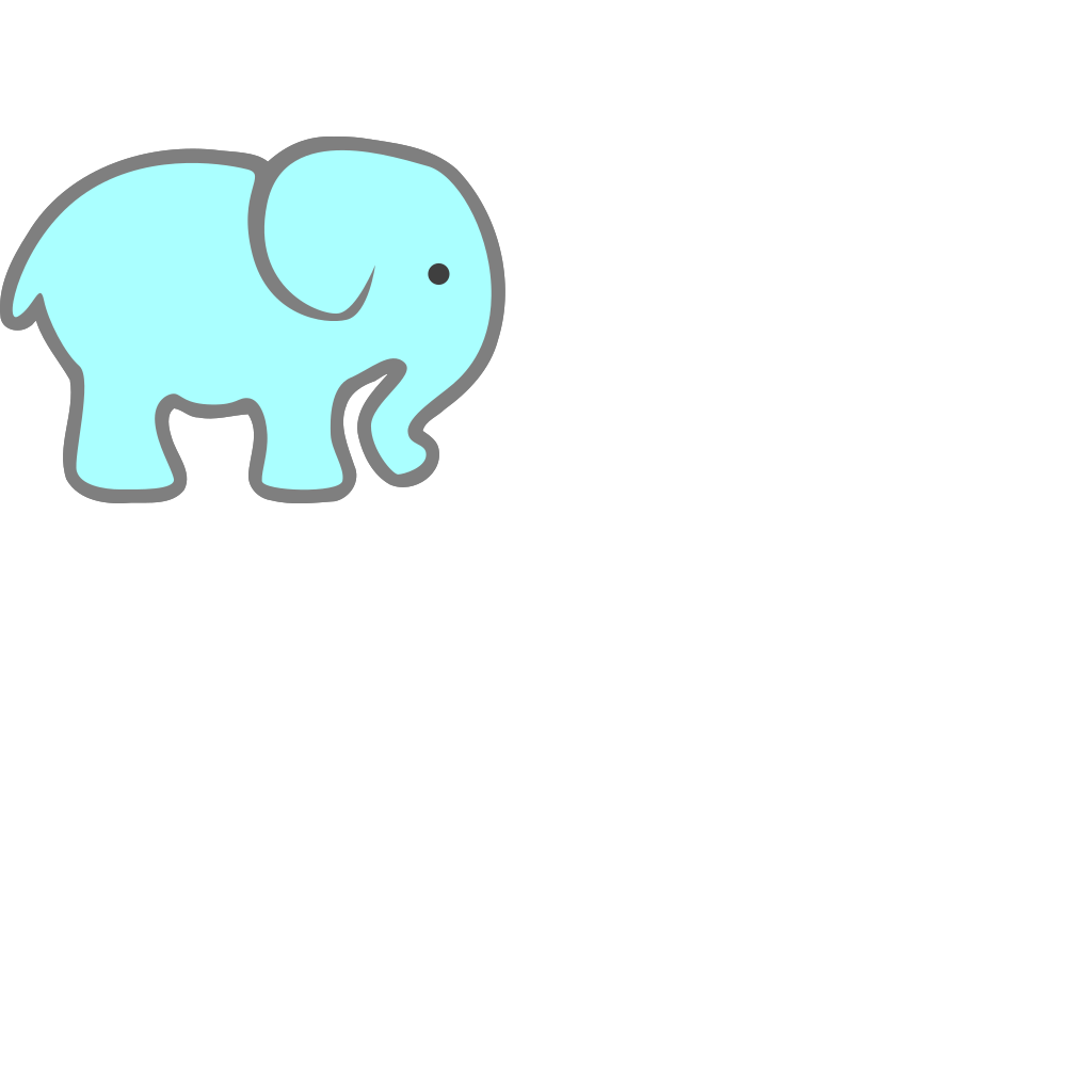Blue Baby Elephant SVG Clip arts
