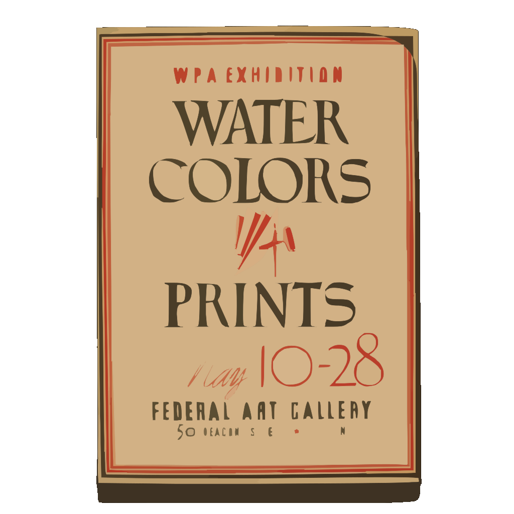 Wpa Exhibition Water Colors [and] Prints, Federal Art Gallery / Hg [monogram]. SVG Clip arts