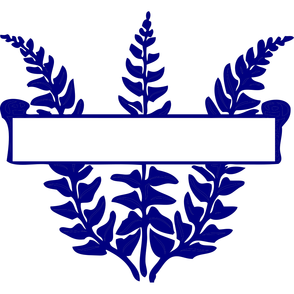 Blue Fern Scroll SVG Clip arts