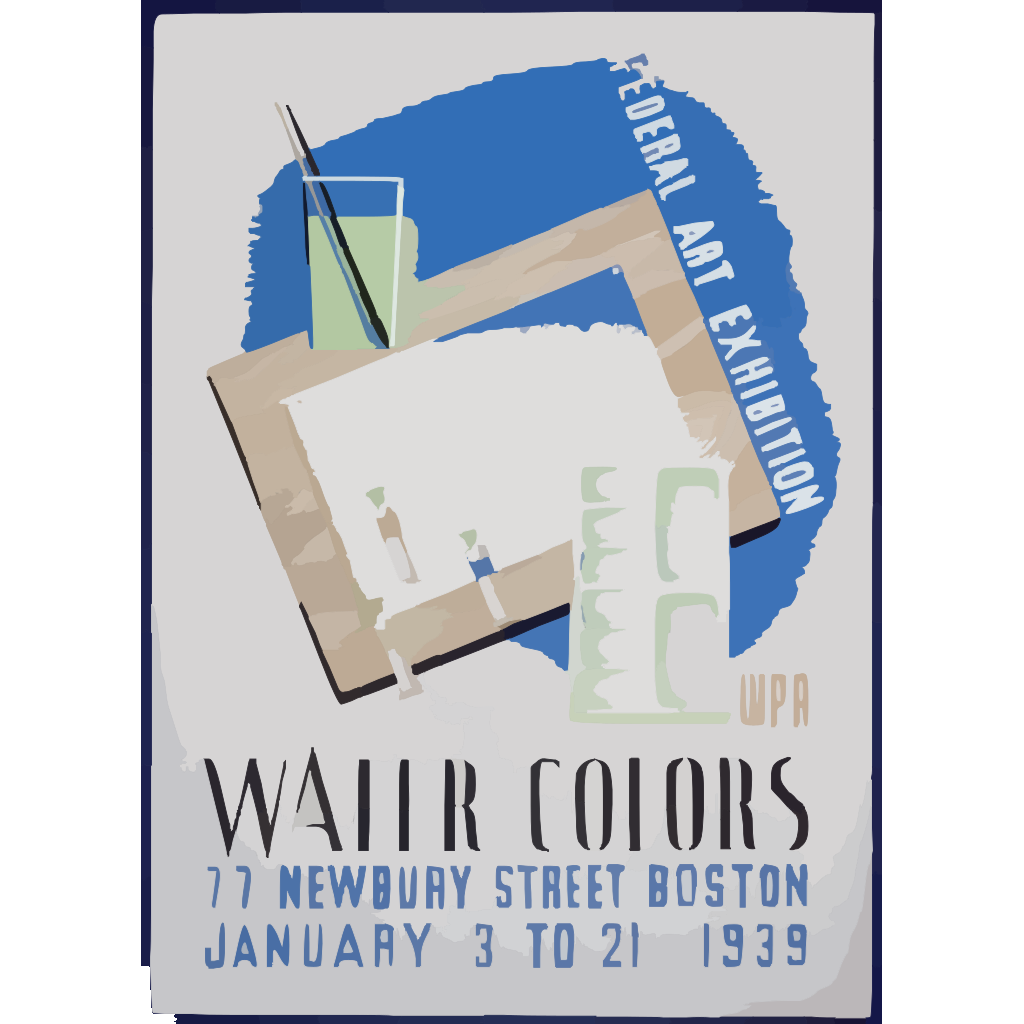 Federal Art Exhibition Wpa Water Colors. SVG Clip arts