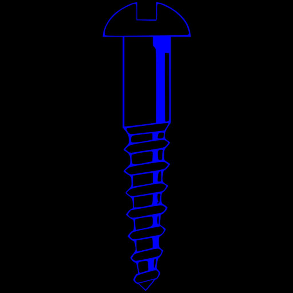 Wood Screw Blue SVG Clip arts