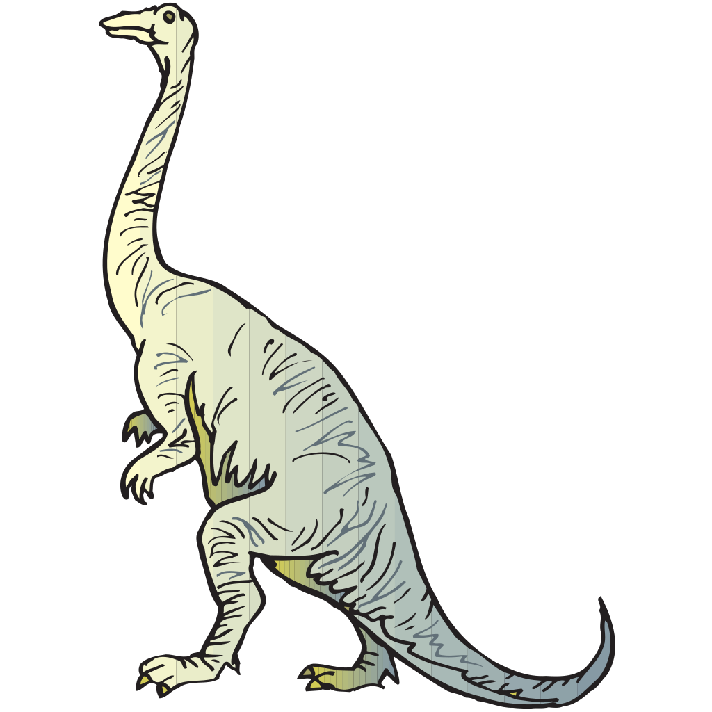 Yellow And Blue Long Necked Dinosaur SVG Clip arts