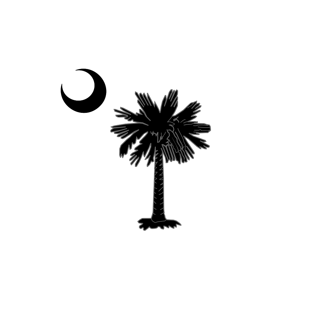 Sc Palmetto Tree Blue Right Side Moon SVG Clip arts