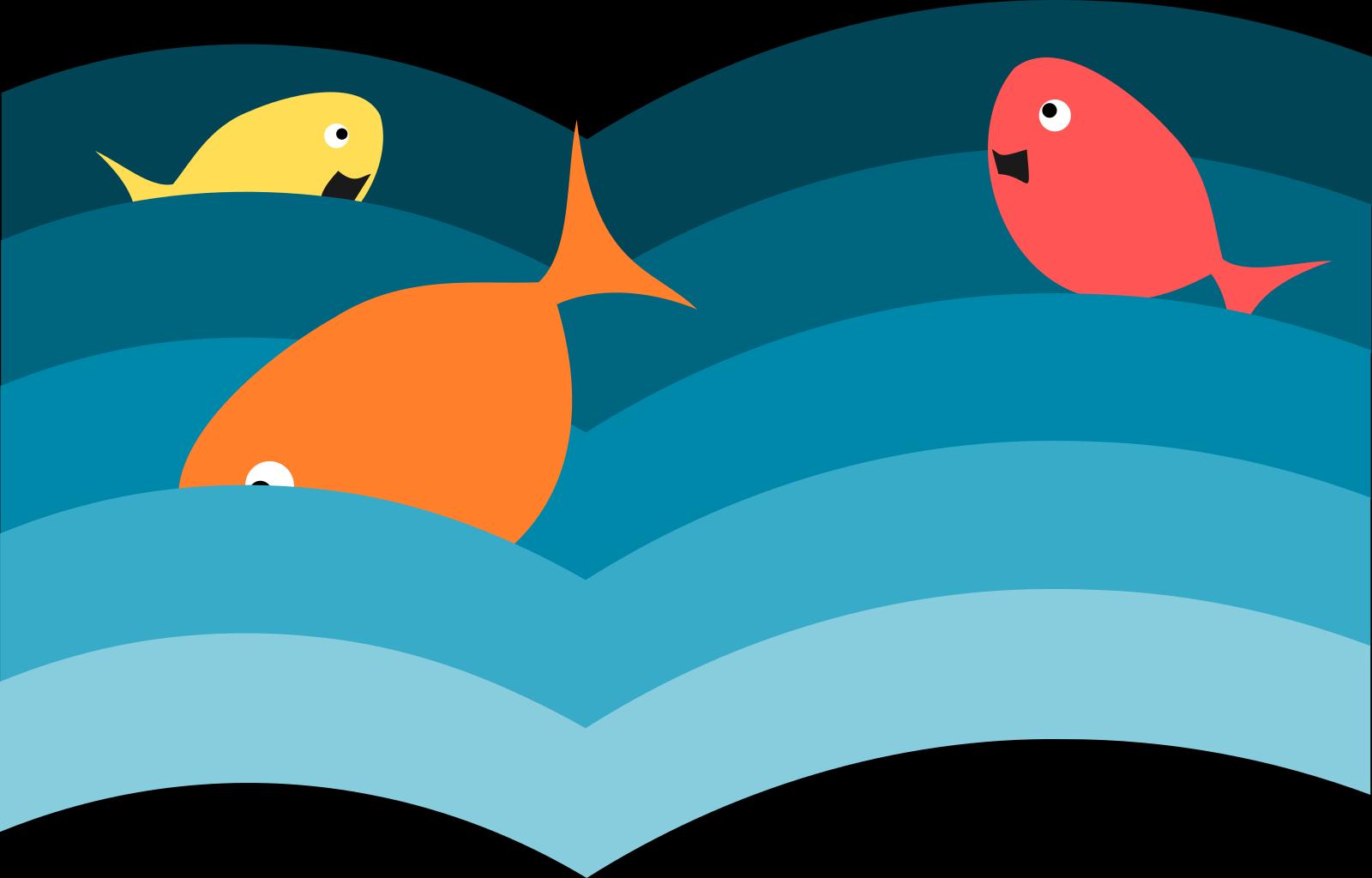 Blue Green Happy Fish SVG Clip arts