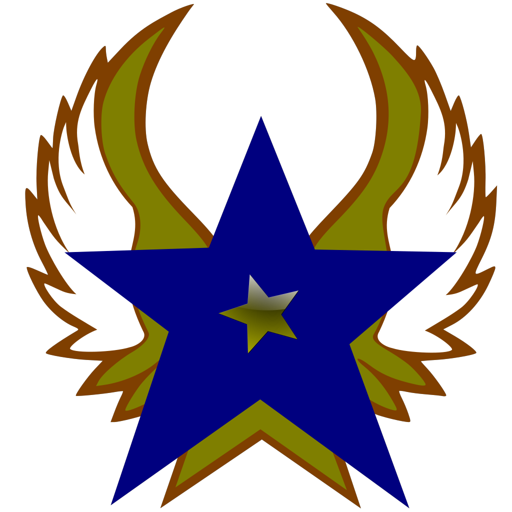 Blue Star With 1 Gold Star And Wings SVG Clip arts